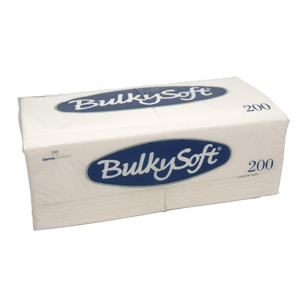 Bulkysoft Servetten 1-laags 1/4 vouw wit 33x33cm 12x200 stuks