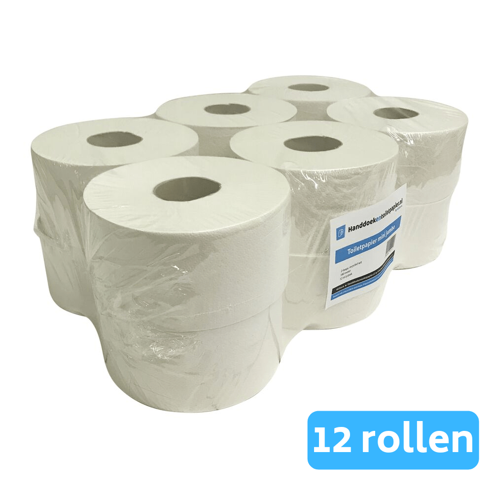 Quartz Mini Jumbo Duo Toiletrolhouder zwart + 4UStore Mini Jumborol 2-laags recycled 12 x 180 meter