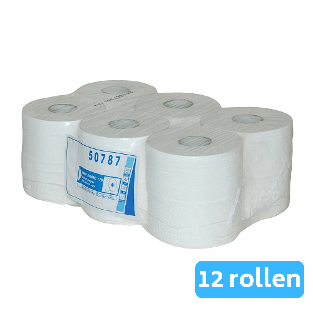 Euro Products Mini Jumbo toiletpapier cellulose 2-laags 12 x 150 meter