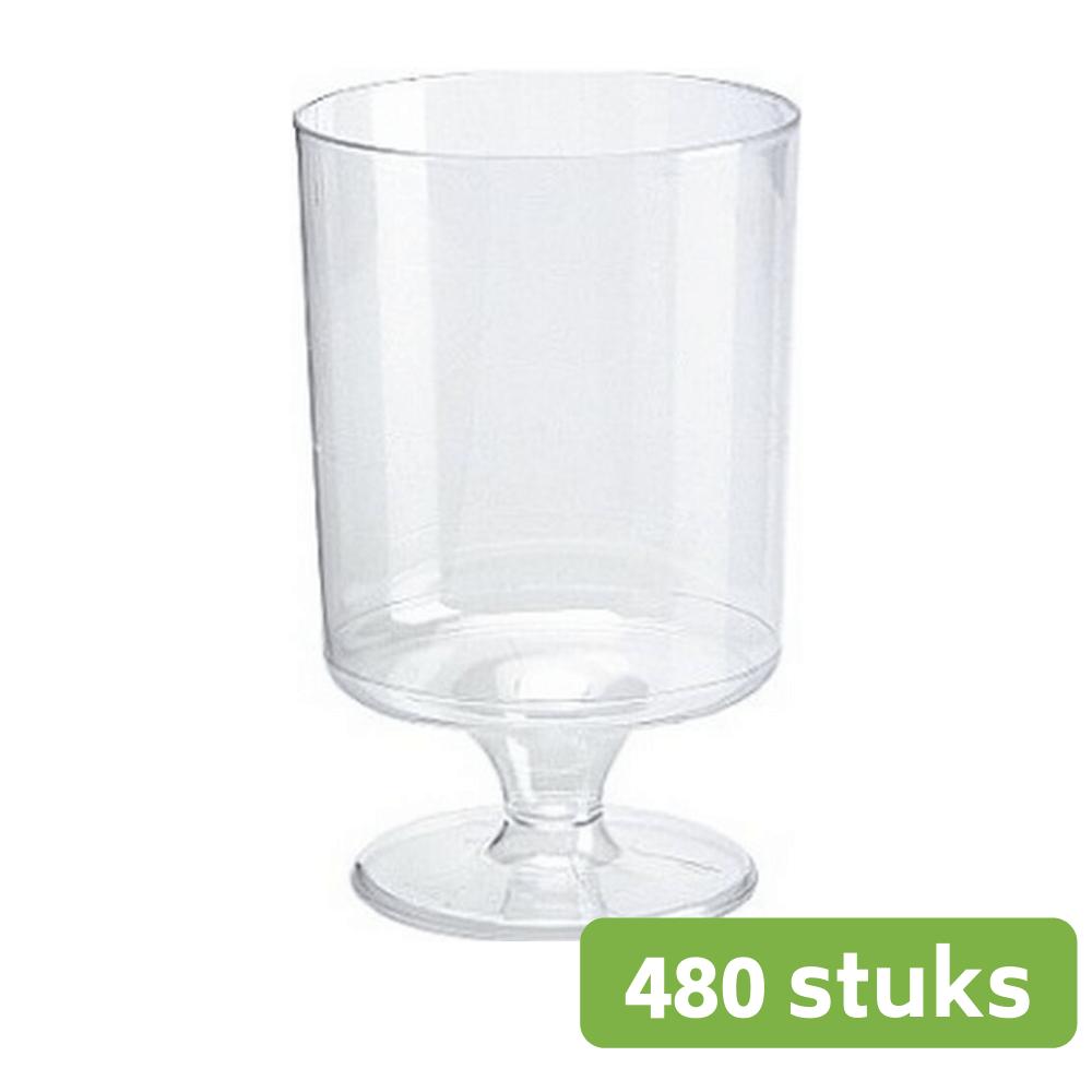 Plastic wijnglas op voet | 150 ml | 70 stuks