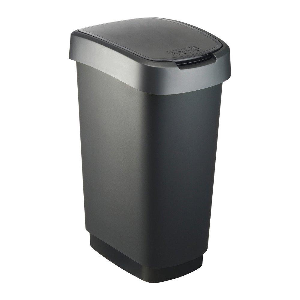 Twist Afvalbak 50 liter zwart/zilver