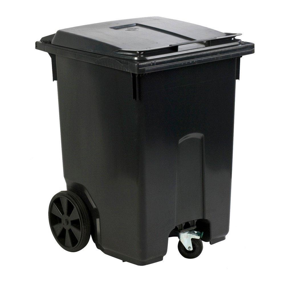 Mini rolcontainer met 3 wielen 400 liter grijs