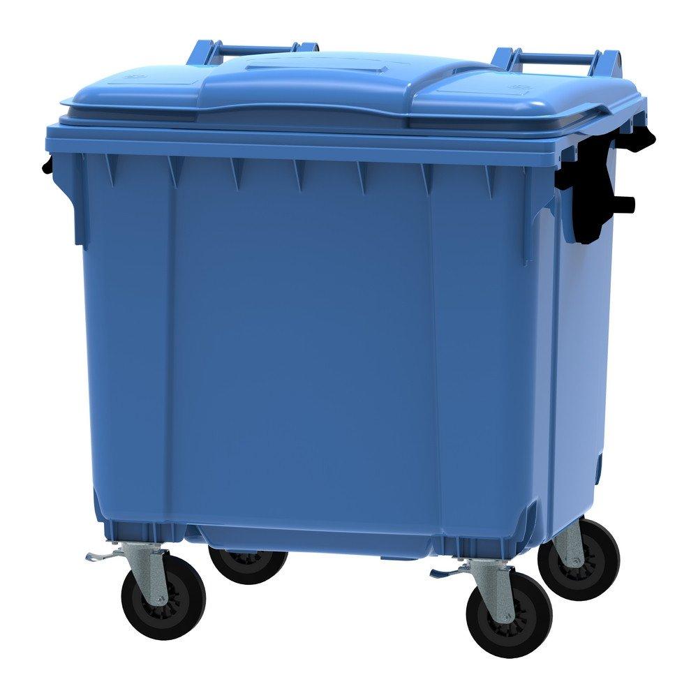 Container 1100 liter vlak deksel blauw