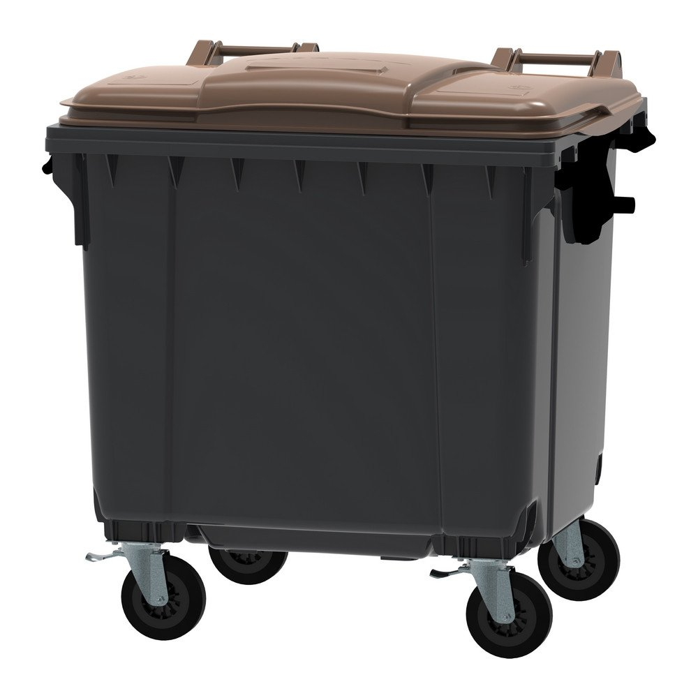 Container 1100 liter vlak deksel grijs/bruin