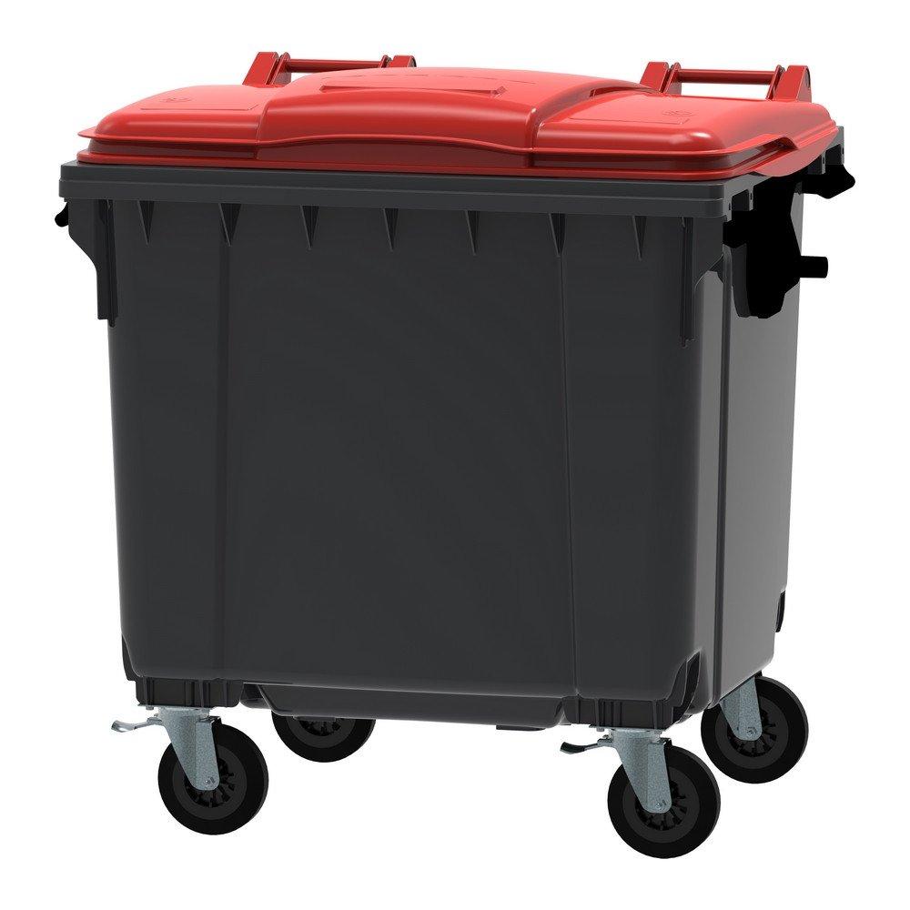 Container 1100 liter vlak deksel grijs/rood