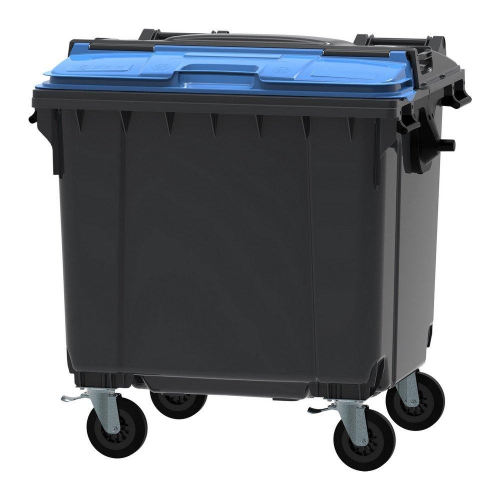 Container 1100 liter split deksel grijs/blauw