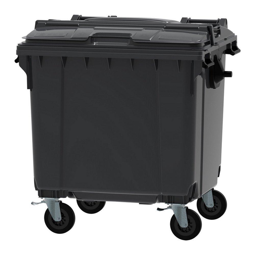 Container 1100 liter split deksel grijs