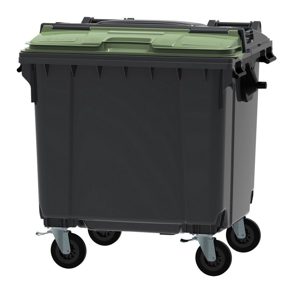 Container 1100 liter split deksel grijs/groen
