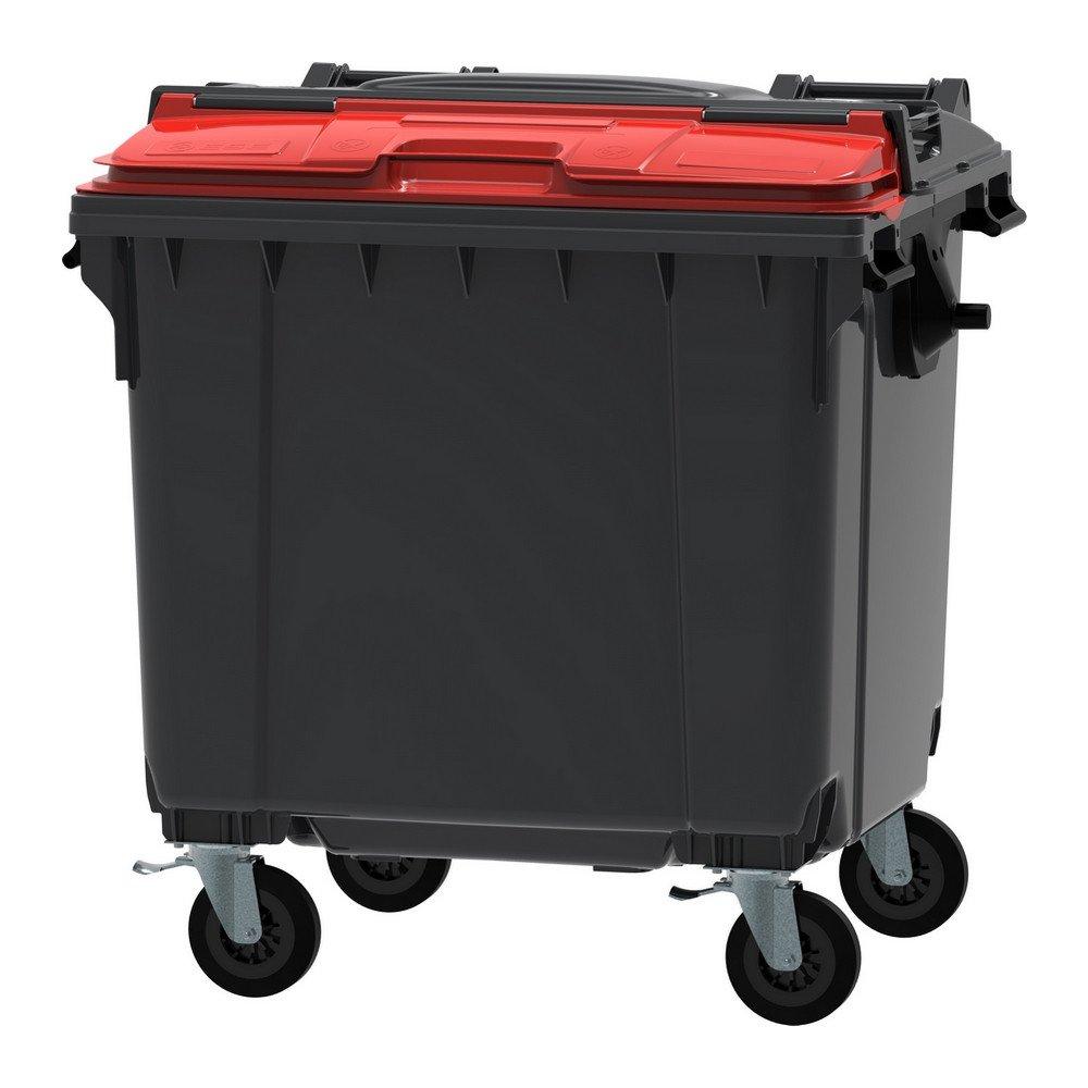 Container 1100 liter split deksel grijs/rood