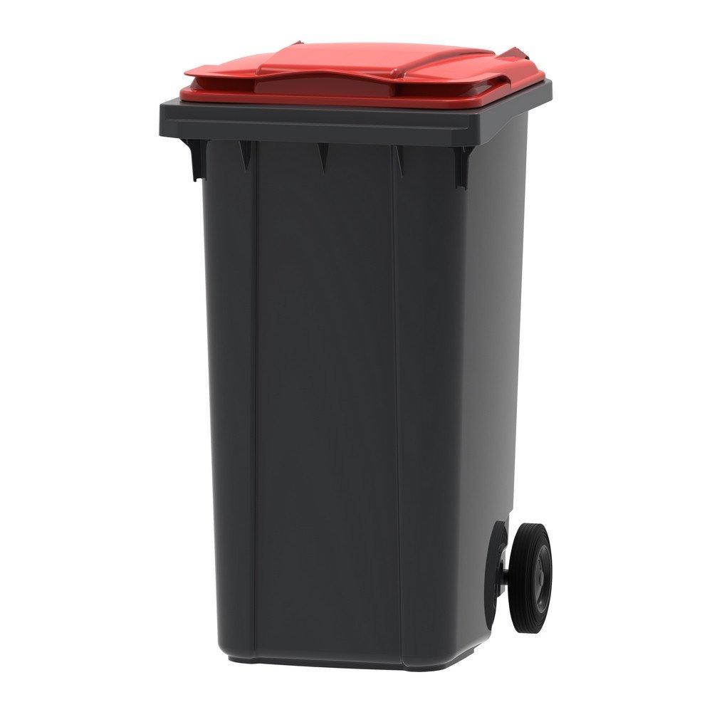 Mini-container 240 liter grijs/rood