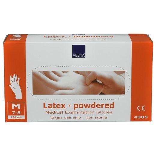 Handschoen Latex M gepoederd wit 100 stuks