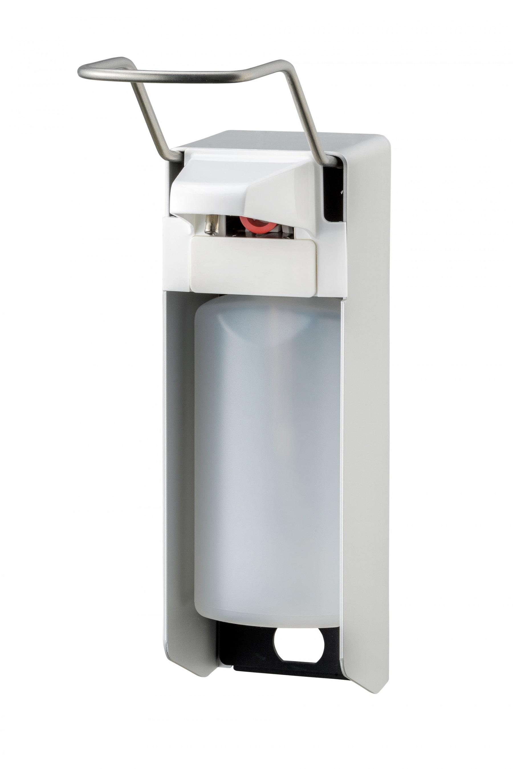 Zeep- & desinfectiemiddeldispenser 500 ml lange beugel aluminium