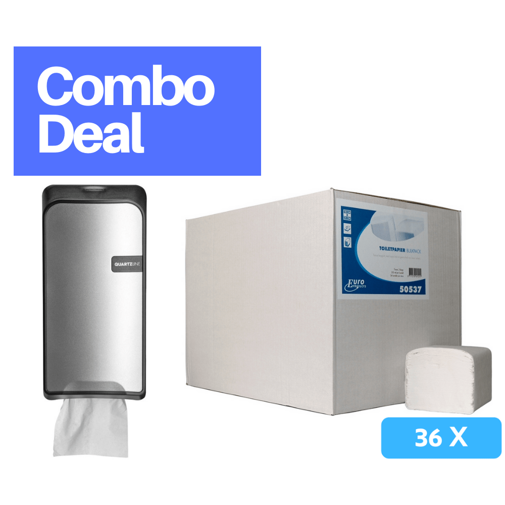 Combodeal | Euro Products Quartz bulkpack toiletrolhouder + Toiletpapier 2-laags 36 x 250 vel | Zilver