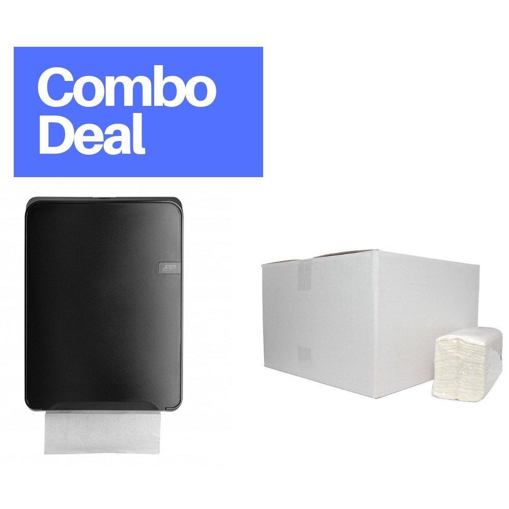 Combodeal | Euro Products Quartz | Vouwhanddoekdispenser & 2432 Vouwhanddoekjes | Zwart