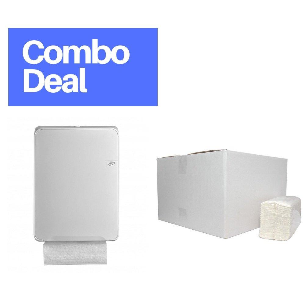 Combodeal | Euro Products Quartz | Vouwhanddoekdispenser & 2432 Vouwhanddoekjes | Wit