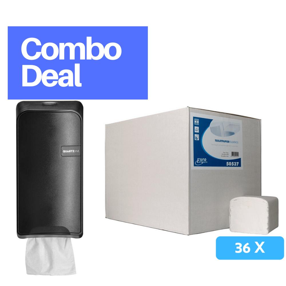 Combodeal | Euro Products Quartz bulkpack toiletrolhouder & Toiletpapier 2-laags 36 x 250 vel | Zwart