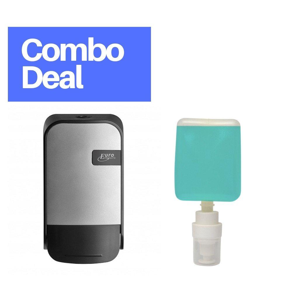 Combodeal | Euro Products | Quartz | Foamzeepdispenser + Handzeep 12 x 400 ml | Zilver