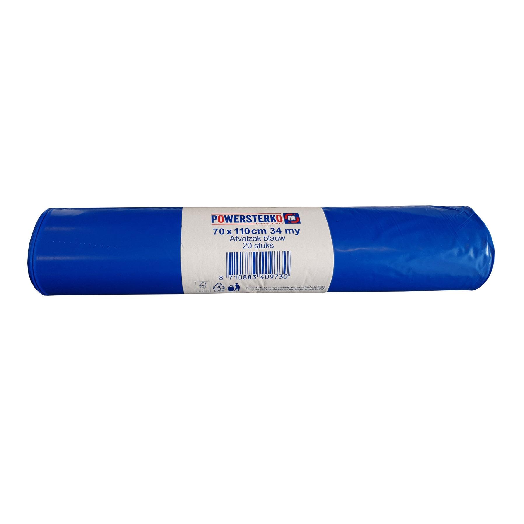 Powersterko afvalzak blauw 70 x 110 cm 34 MY 10 rollen x 20 zakken