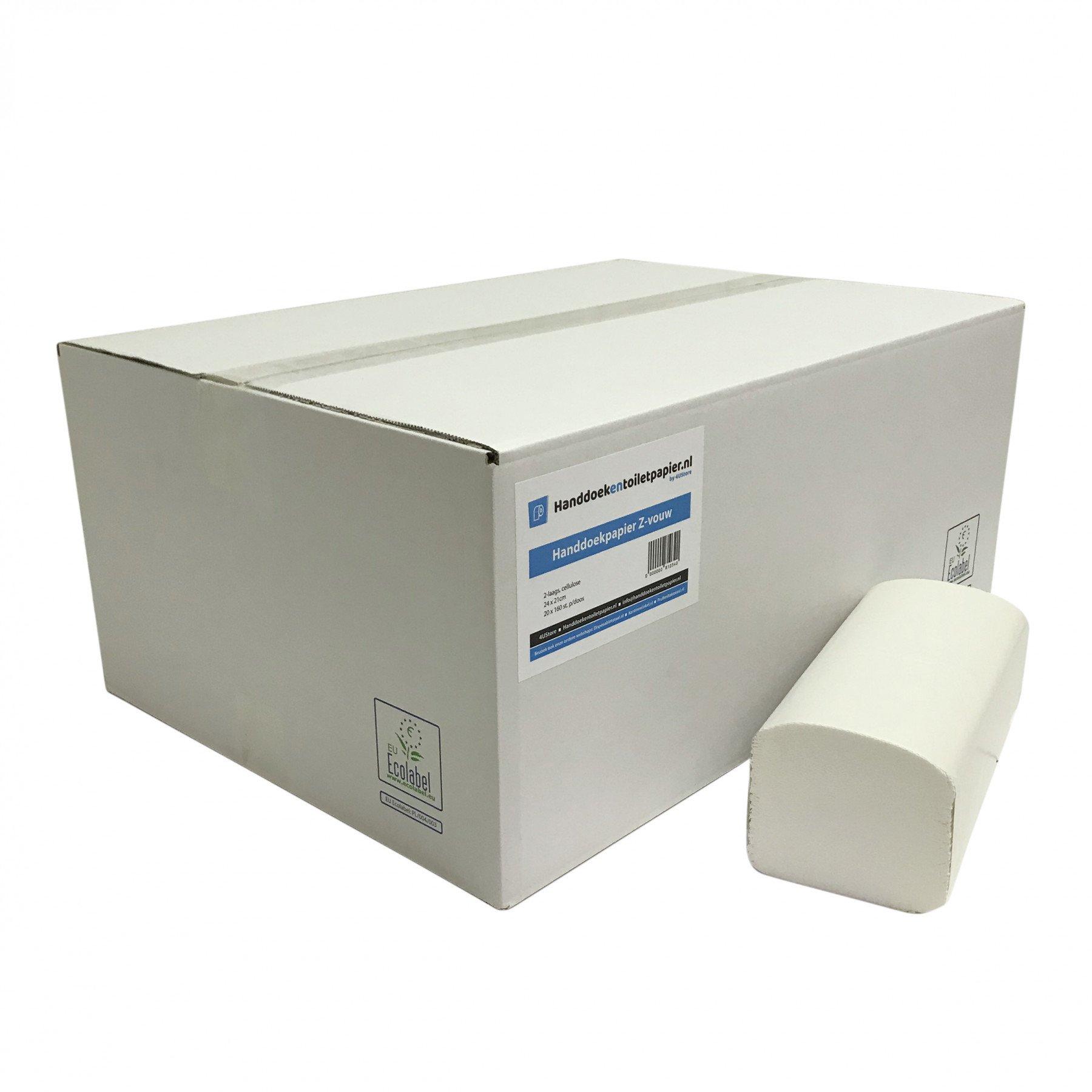 4UStore Z-vouwhanddoekjes cellulose 2-laags 21 x 25 cm 3200 stuks