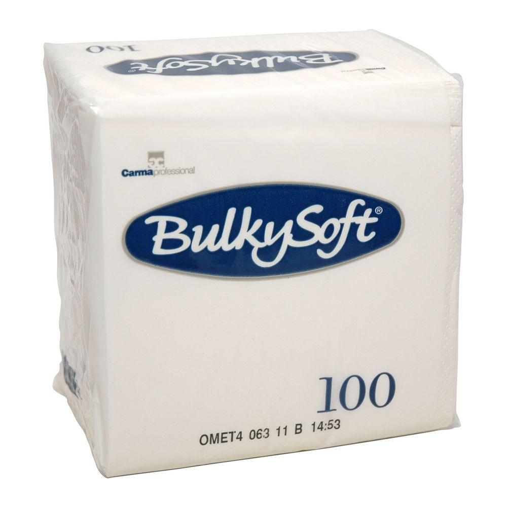 Bulkysoft Gekleurde servet 2-laags wit 1/4 vouw 24x24cm 3000 stuks