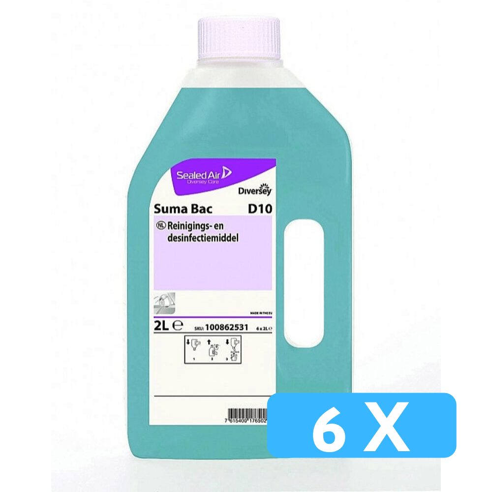 Suma Bac D10 reinigings- en desinfectiemiddel 6 x 2 liter