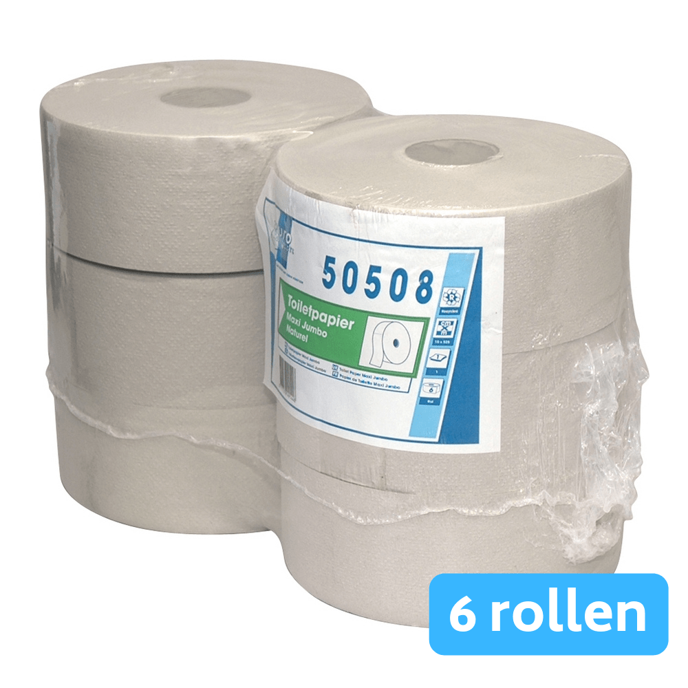 Toiletpapier 1-lgs Maxi jumbo recycled 6x525mtr