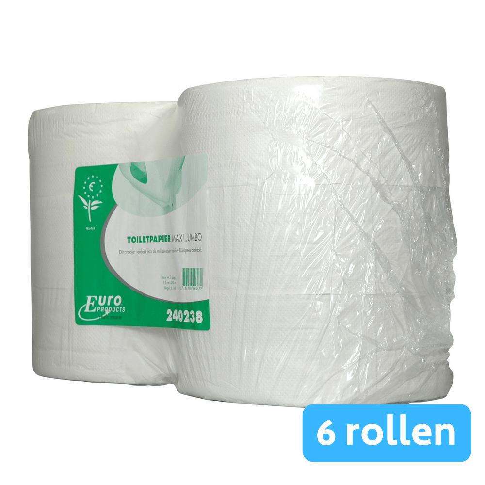 Toiletpapier 2-laags maxi jumborol tissue wit 6x380mtr
