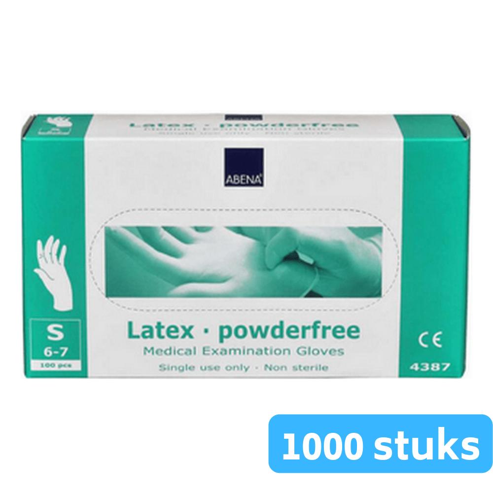 Handschoen latex wit poedervrij small 10 x 100 stuks