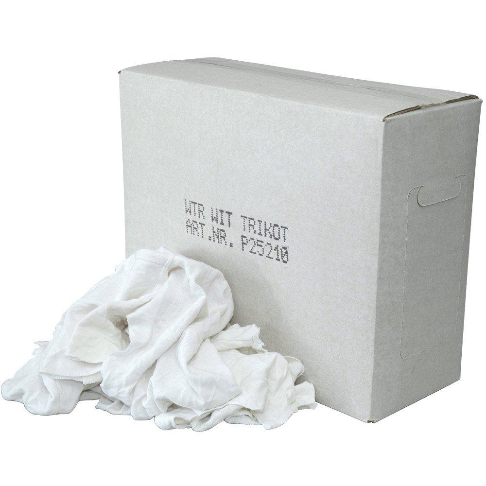 Witte Tricot Lappen met een gekleurd randje doos 10 kg