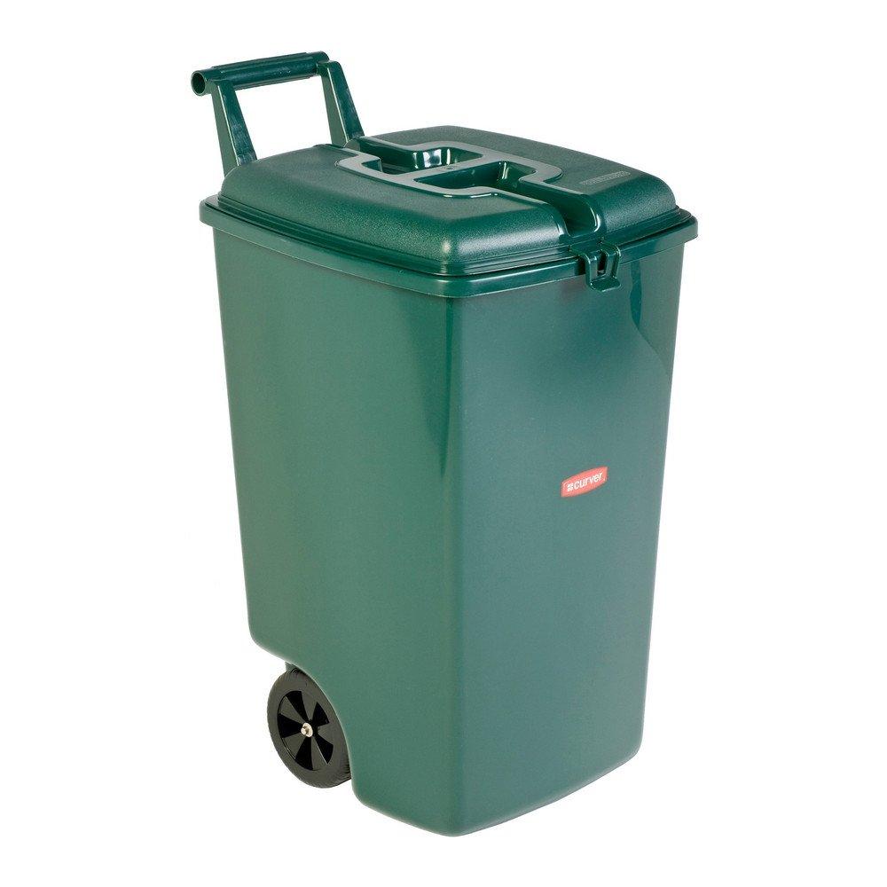 Verrijdbare afvalbak met los deksel 90 liter groen