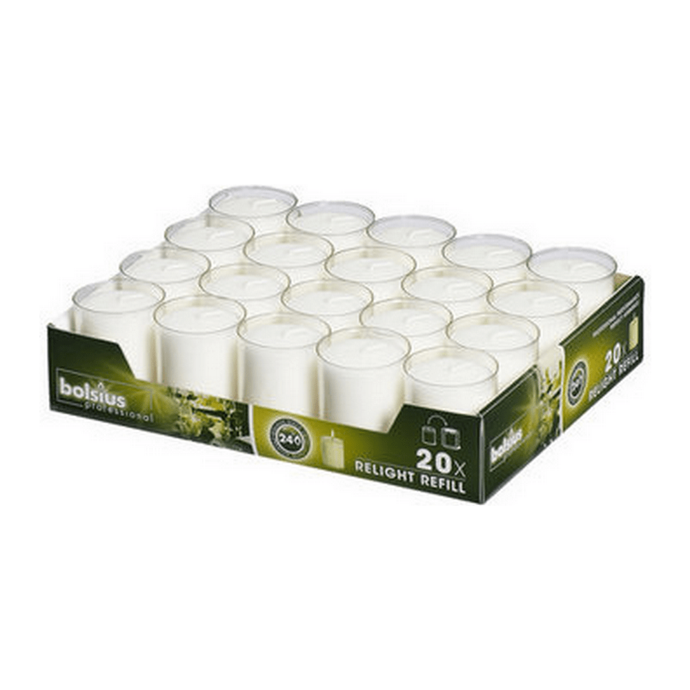 Bolsius | Relight transparant kaarsen | Navulling 20 stuks