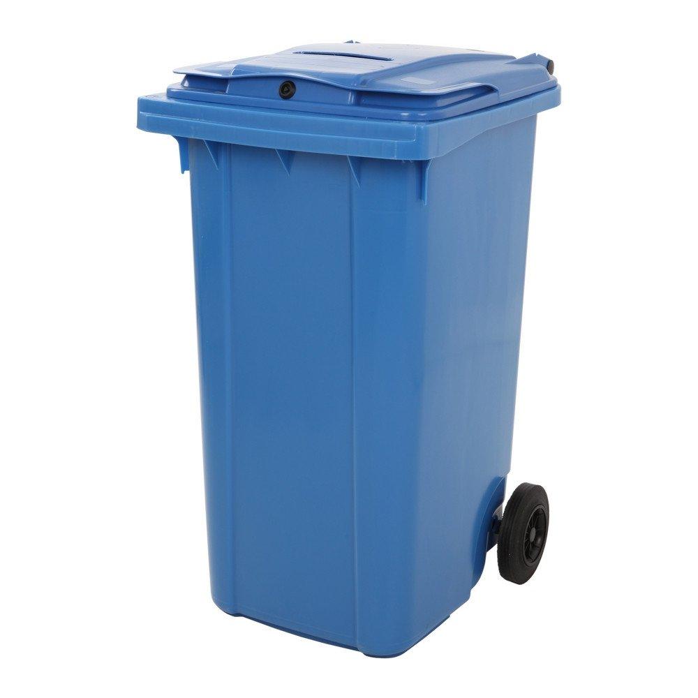 Container met papiergleuf en slot blauw