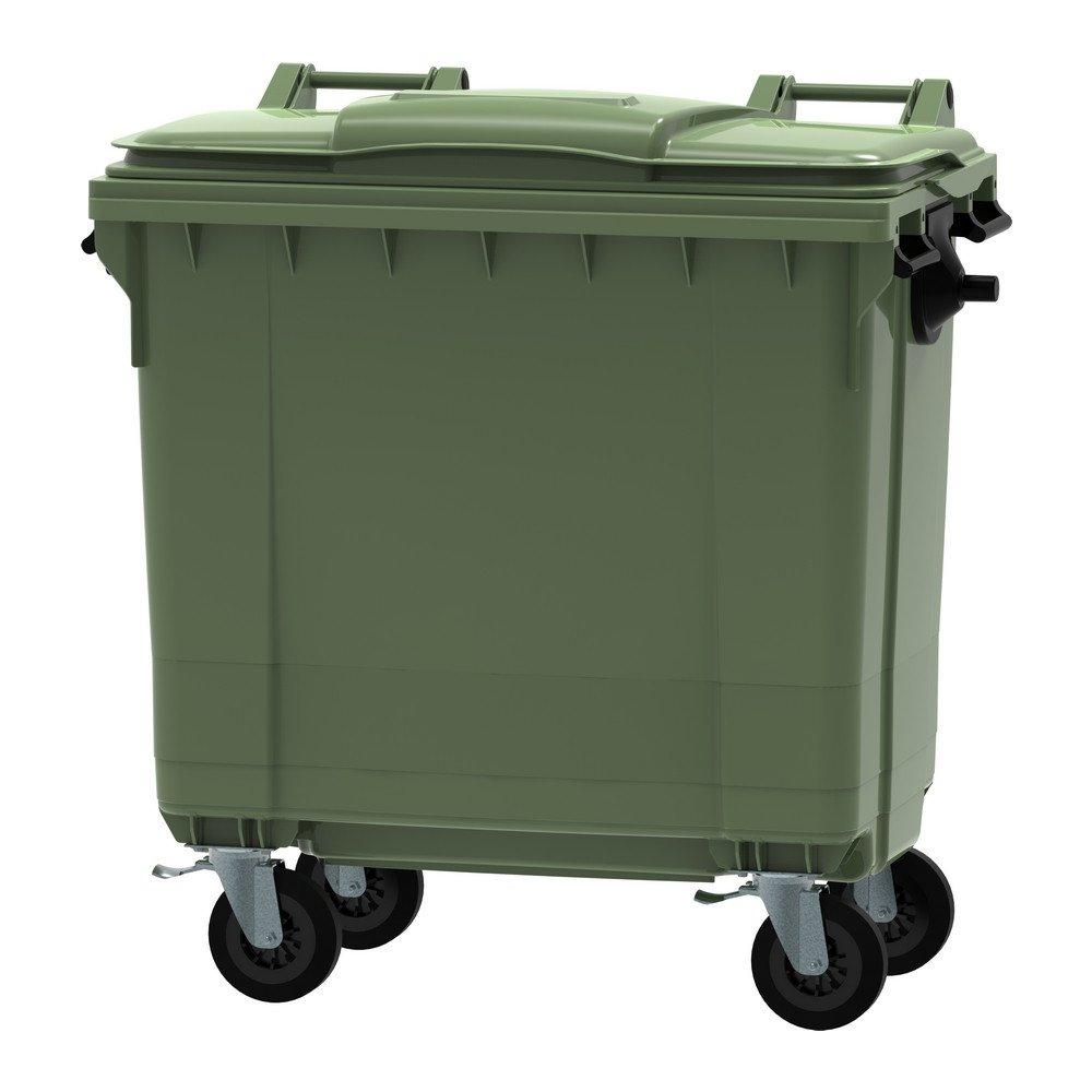 Container met deksel en wielen 770 liter groen