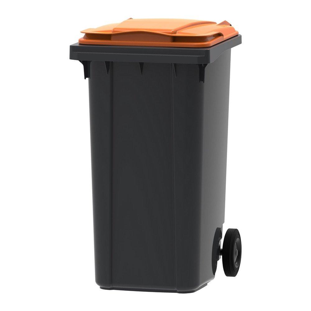 Mini-container 240 liter grijs/oranje