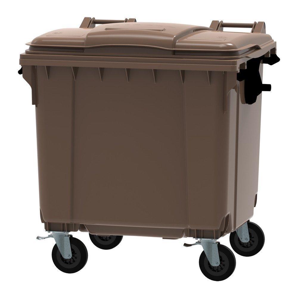 Container 1100 liter vlak deksel bruin