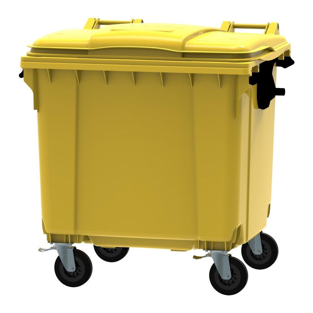 Container 1100 liter vlak deksel geel