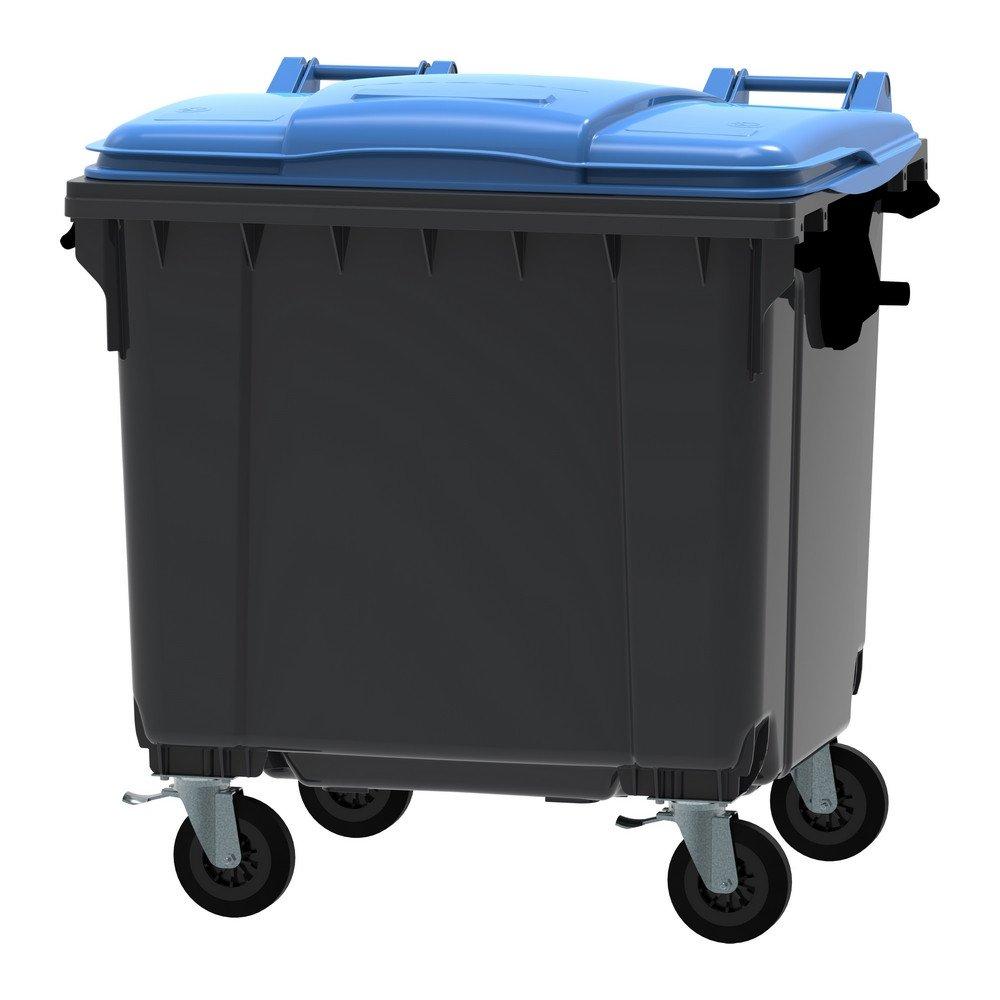 Container 1100 liter vlak deksel grijs/blauw