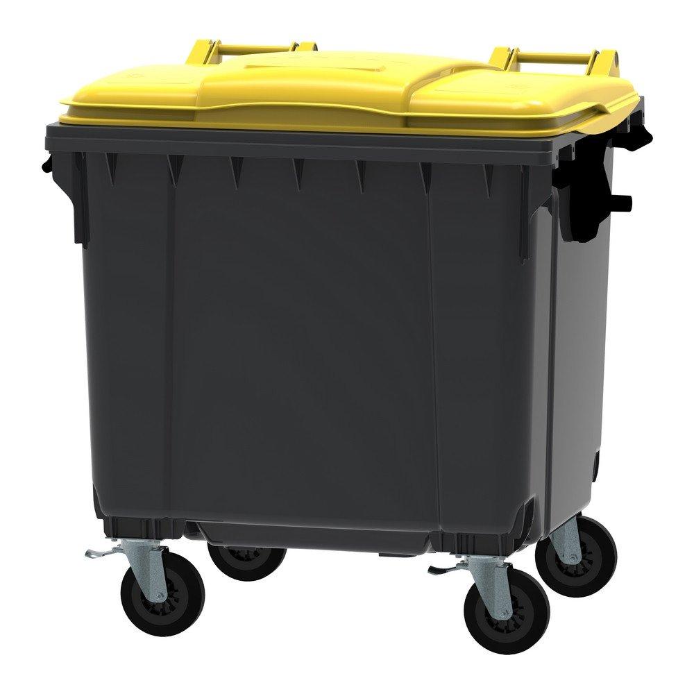 Container 1100 liter vlak deksel grijs/geel