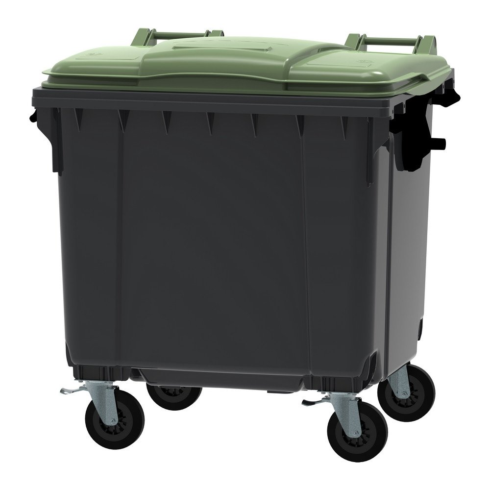 Container 1100 liter vlak deksel grijs/groen