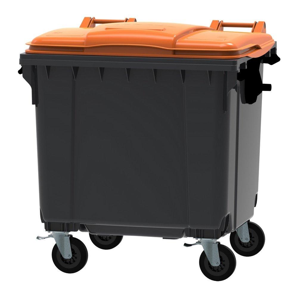 Container 1100 liter vlak deksel grijs/oranje