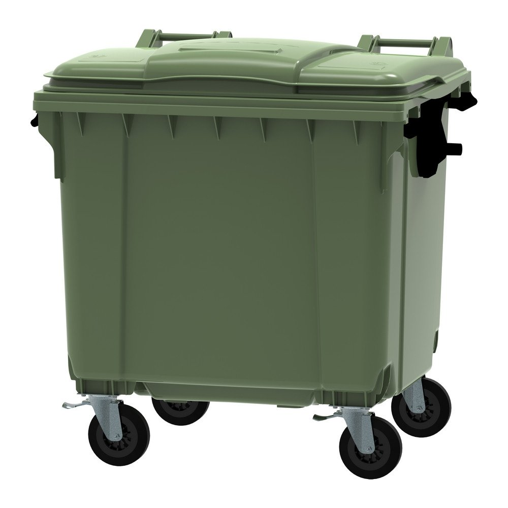 Container 1100 liter vlak deksel groen