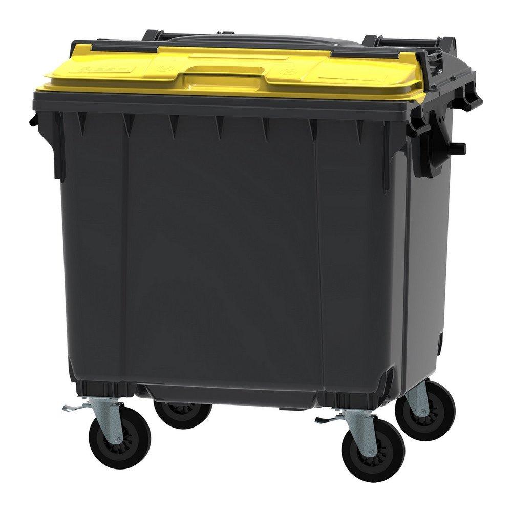 Container 1100 liter split deksel grijs/geel