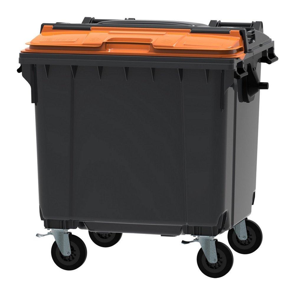 Container 1100 liter split deksel grijs/oranje