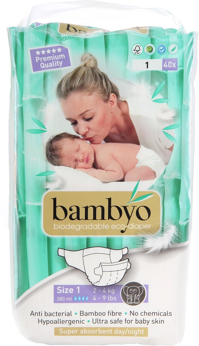 Bambo | Luiers | 1 New Born | 2-4 kg | 28 stuks | 22cnt per luier