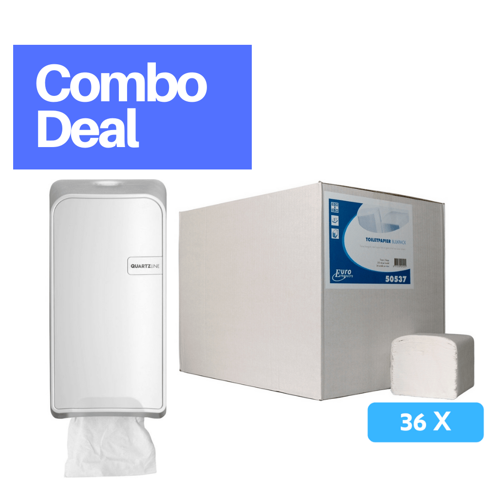 Combodeal | Euro Products Quartz bulkpack toiletrolhouder & Toiletpapier 2-laags 36 x 250 vel | Wit