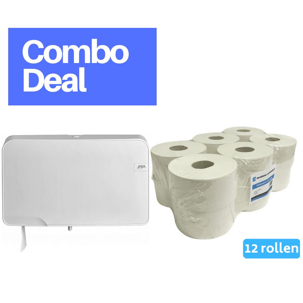 Combodeal | Euro Products & 4UStore | Quartz Mini Jumbo Duo Toiletrolhouder + Mini Jumborol 2-laags | Wit