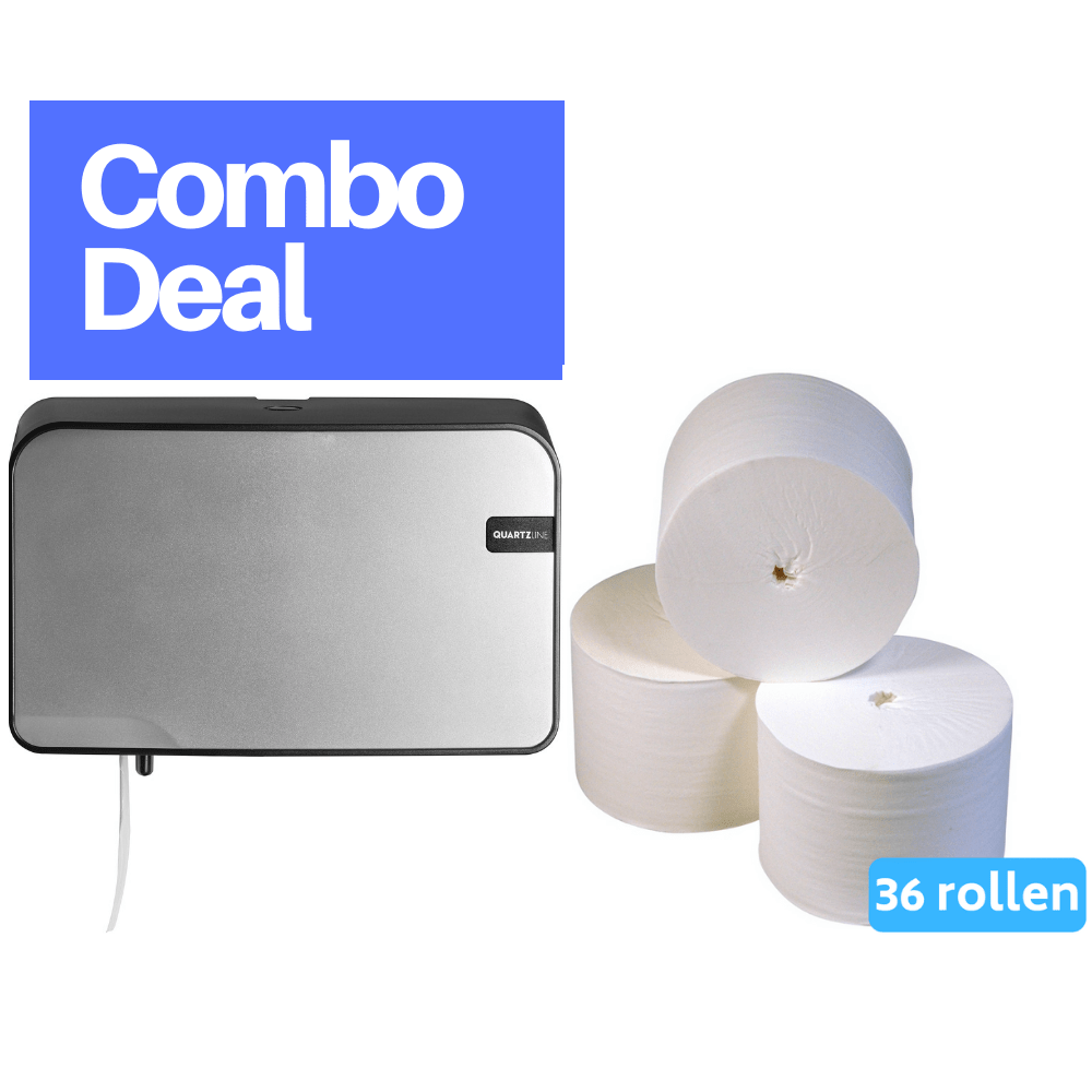 Combodeal | Euro Products | Quartz Coreless Duo Toiletrolhouder & Toiletpapier 2-laags Coreless compact | Zilver