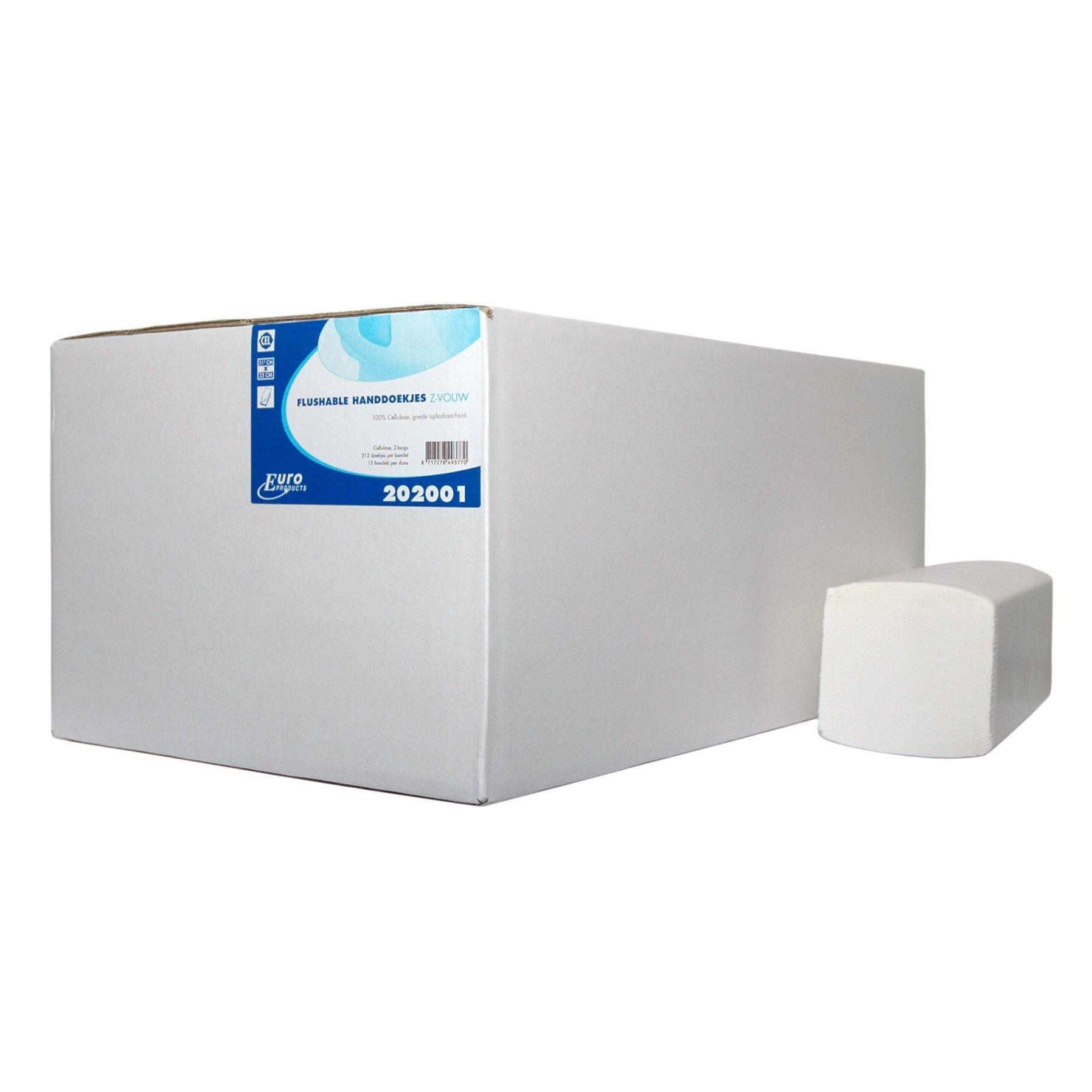 Euro Products Papieren Oplosbare Z-vouw handdoekjes 2-laags 20,5 x 25 cm | 20 x 160 stuks