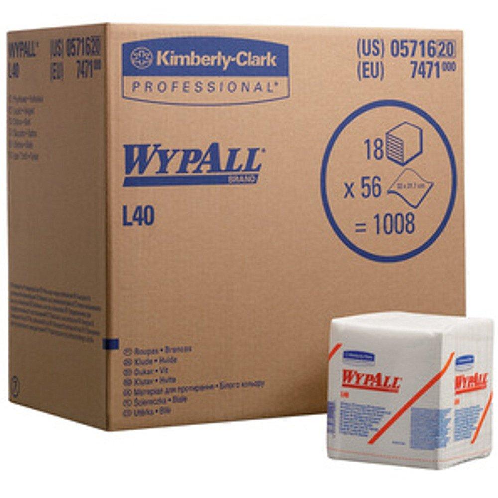 Wypall | L40 poetsdoeken | Wit | 36,5 x 32 cm | Gevouwen | 18 x 56 stuks