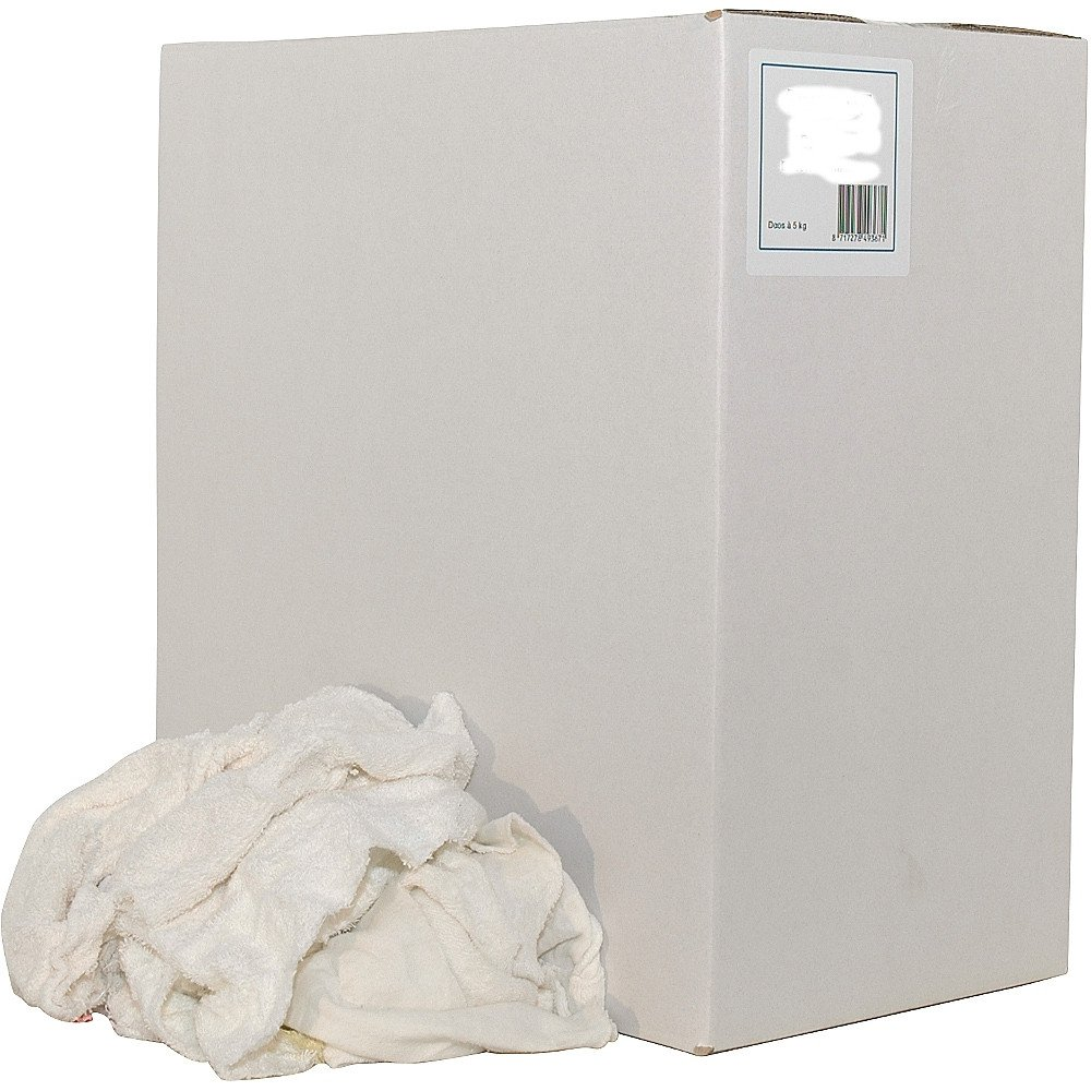 Witte badstof handdoeken gesneden (zonder naden/stiksels) doos 5 kg